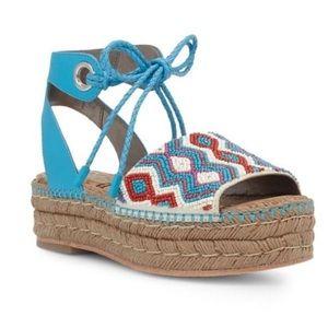Beaded Platform Ankle Lace Up Espadrilles Sandals